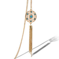 Fashion Women Jewelry Retro Turquoise Feather Charm Pendant Long Chain Necklace