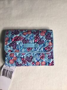 Vera Bradley Disney RFID Riley Compact Wallet Mickey's Colorful Meadow 26068 R51