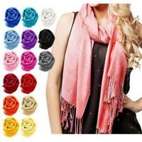 Pashmina Cashmere Scarf Shawl Wrap Plain Stole Silk Soft Women Men Wool Warm