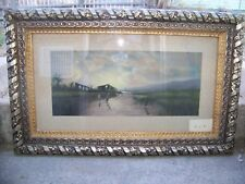 ANTIQUE ORIGINAL ART PASTEL SIGNED UNKNOWN ARTIST 1890'S-1910 IMPRESSIONISM