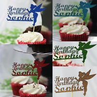 Personalised Glitter Happy Birthday Any Name Tinkerbell Fairy Cupcake Toppers UK