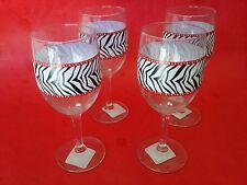 4 NEW WT WINE GLASSES ZEBRA PRINT JUNGLE SAFARI TIKI BAR NOVELTY PARTY GIFT