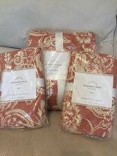 3pc Pottery Barn Alessandra King Duvet W/2 Euro Shams Red Floral