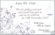 Butterfly Save the Date Wedding Cards - Butterfly with Birdcage - Lilac (50)
