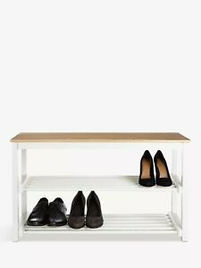 John Lewis & Partners Modern Country Wooden Shoe Rack, Lily WhiteRRP £69.00