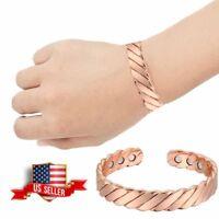 Twisted Pure Copper Magnetic Bracelet Men Women Bangle Arthritis Pain Relief Hot