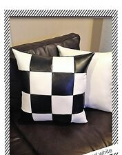 Accent Decorative leather pillow quares brown white throw case cushion cover
