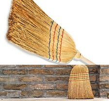Traditional Long Wooden Straw Corn Broom Garden Sweeping Stable Yard Brush