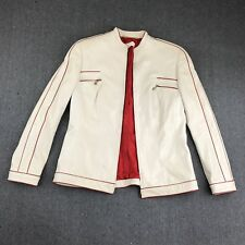 Escada Womens White Red Leather Jacket 2 Front Pockets Full Zip Size 40