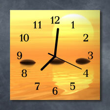 Glass Wall Clock Kitchen Clocks 30x30 cm silent Water Sun Orange