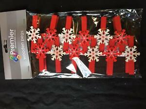 12 x Christmas Wooden Card Pegs Christmas Card Holders Decorative Snowflake Pegs