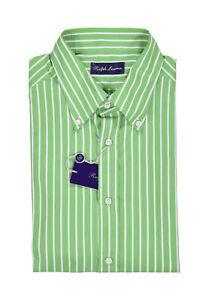 Ralph Lauren Purple Label Green Striped Dress Shirt XXL New $450