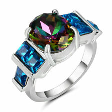 Size 8 Oval Cut Mystic Rainbow Topaz Engagement Ring Silver Plated Party