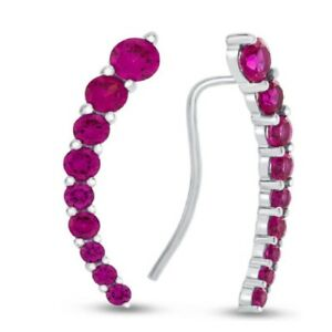 9K White Gold Earrings Climbers with Wire hook Red Ruby Gemstone