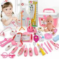 Doctor Medical Kid Role Play Pretend Toy Set Nurse Carry Box Truck Kit Case Pink
