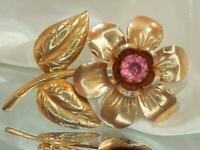 HUGE VIntage 40s Goldtone Deco Pink Lucite Rhinestone Flower Brooch 655F0