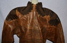 JEAN CLAUDE JITROIS PARIS VINTAGE S BROWN LEATHER WING DECOR JACKET COAT FRANCE