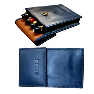 Genuine leather Pen pouch case  4 super jumbo pens - Navy tan - MARK II brand