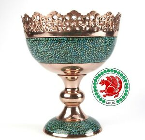 LPUK Turquoise Grail Bowl Persian Exquisite Copper Turquise Pedestal Bowl Weight