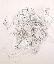 """HANS BELLMER mounted print, 1968, surrealist erotic Traité de Morale, 12 x 10"""" 1"""