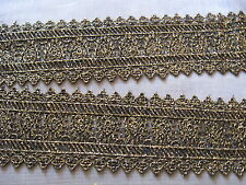 9 1/2 YDS  BLACK AND GOLD METALLIC ENTREDEUX VENISE LACE GALLOON