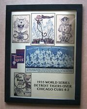 """Detroit Tigers 1935 World Series Champs with Paws metal plate 13"""" x 17"""" Framed!"""