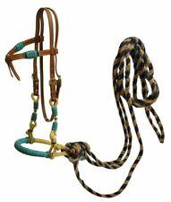 Futurity Knot Headstall Bitless Bridle TEAL Bosal Hackamore & Mecate Reins 13175
