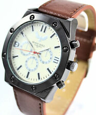 Brave Soul Mens Watch Real Leather Brown Strap Cream Dial Authentic Model 05/B