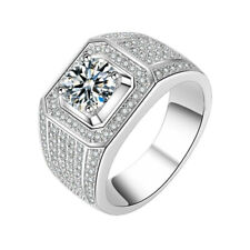 Ring Fathers Day 925 Sterling Silver 3 Ct Near White Moissanite Mens Engagement