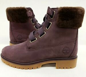 """Woman Timberland Sample size 7 premium 6"""" purple with fur collar 4 holes boot"""