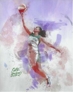 2021 SUE BIRD WNBA SEATTLE STORM 8x10 *WATER COLOR* PHOTOGRAPH UCONN SUPERSTAR