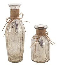 """SHABBY FRENCH CHIC MERCURY GLASS BOTTLE BOTTLES JUTE CORD FEATHER  9""""H, S/2"""