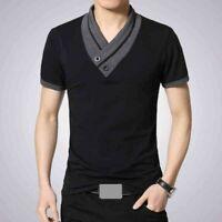 Hommes T-shirt à Manches Courte-col-Chemises-Sports-Homme-Polo-T-Shirt-Haut