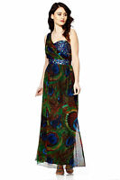 Maxi Dress Gem Sequin Embellished Bridesmaid Party Prom Draped Gown Size 8-24