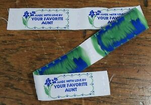 Sets of 5 Vtg 1990s Embroidered Ribbon Sew In LABEL Made with Love Favorite Aunt