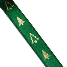 Green Satin Single Sided 10mm Ribbon with Gold Christmas Trees (H) *2 Metres*