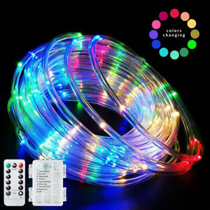 Battery Powered LED Strip Rope Light Tube String Outdoor Party Decoration Lights