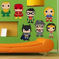 SUPERHEROES JUSTICE LEAGUE KIDS WALL STICKER DECAL GIFT BEDROOM BOYS GIRLS ART