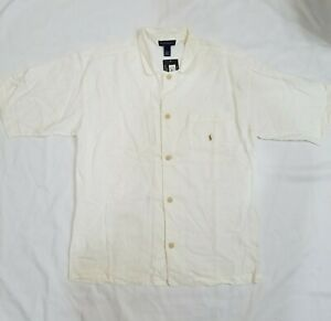Polo Ralph Lauren Mens Sleep Wear White Short Sleeve Button Shirt L Cotton Linen