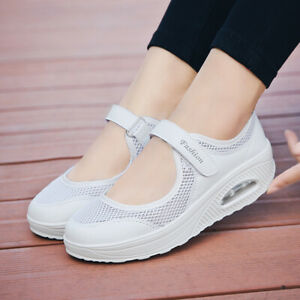 Casual Womens Buckle Round Toe Mesh Athletics Breathable Sports Trainers Shoes