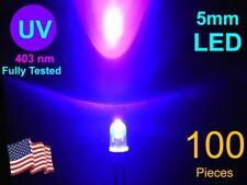100 Pcs 5mm High Brightness Uv Led Lot Sorted 4025 To 405 Nm Free Shipping