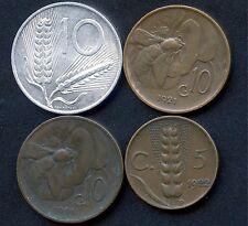 4 Italy Coins 1952 10 Lira 1921, 1926 10 Cents & 1922 5 Cents