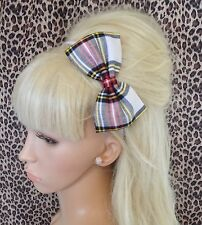 "NEW WHITE RED TARTAN CHECK PLAID FABRIC 5"" SIDE BOW ALICE HAIR HEAD BAND CUTE"