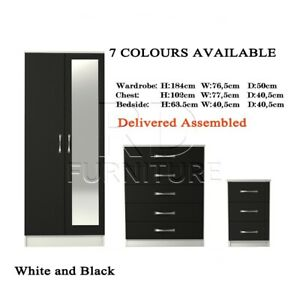 3 Pieces Bedroom Set - Black and White