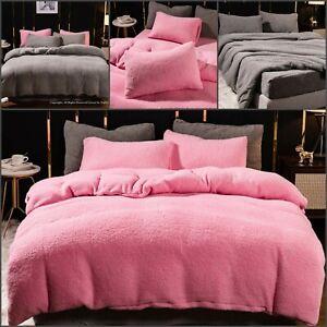 Luxury Teddy Bear Fleece Duvet Quilt Cover Cosy Warm Soft Bedding Set Pillowcase