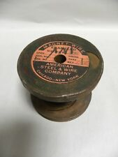 Vintage American Steel & Wire Co. Copper Magnet Wire On Wood Spool (A5)