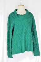 JONES NEW YORK Tunic Sweater XL Emerald Green Turtleneck Cable Knit Long Sleeve