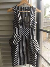 Ladies Cue Stripe Peplum Dress Work Formal BNWT Size 6 RRP$219