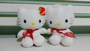 HELLO KITTY PLUSH TOY RED BOWS AND RED AND YELLOW FLOWER- MR AND MRS! 16CM!x