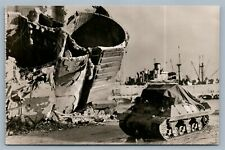 WWII SCENE IN NAPLES FRANCE VINTAGE REAL PHOTO POSTCARD RPPC